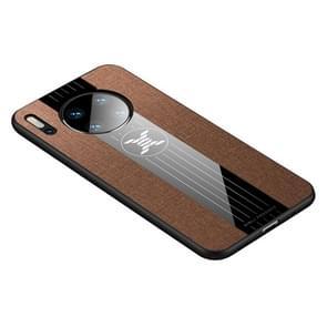 Voor Huawei mate 30 XINLI stiksels doek Textue schokbestendig TPU beschermhoes (bruin)