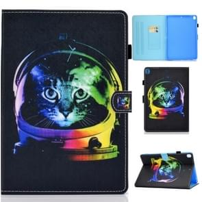 For iPad 10.2 inch Colored Drawing Horizontal Flip Leather Case with Holder & Card Slots & Pen Slot & Sleep / Wake-up Function(Space Cat)