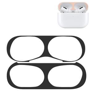 Voor Apple AirPods Pro draadloze oortelefoon beschermende case metalen beschermende sticker (zwart)