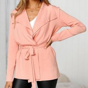Vrouwen mode jas trui gebonden Windbreaker  maat: S (roze)