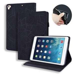 Voor iPad Pro 9 7 inch kalf patroon dubbele vouwen ontwerp reliëf lederen draagtas met houder & kaartsleuven & pen sleuf & elastische band (zwart)