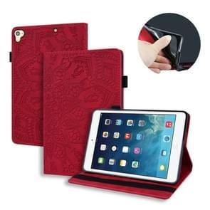 Voor iPad Pro 9 7 inch kalf patroon dubbele vouwen ontwerp reliëf lederen draagtas met houder & kaartsleuven & pen sleuf & elastische band (rood)