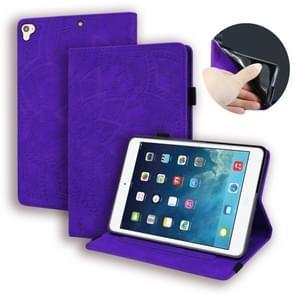 Voor iPad Pro 9 7 inch kalf patroon dubbele vouwen ontwerp reliëf lederen draagtas met houder & kaartsleuven & pen sleuf & elastische band (paars)