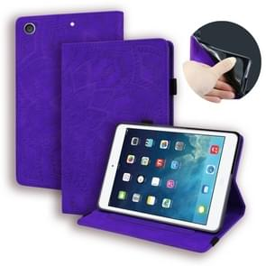 For iPad 10.2 inch 2019 Calf Pattern Double Folding Design Embossed Leather Case with Holder & Card Slots & Pen Slot & Elastic Band(Purple)