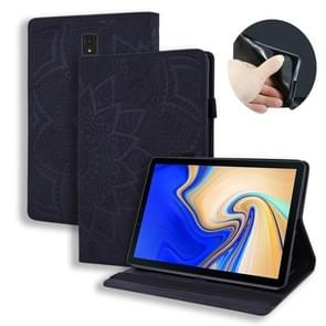 For Galaxy Tab S4 10.5 T830 / T835 Calf Pattern Double Folding Design Embossed Leather Case with Holder & Card Slots & Pen Slot & Elastic Band(Black)