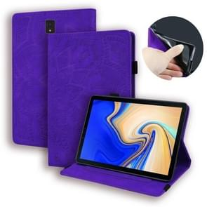 For Galaxy Tab S4 10.5 T830 / T835 Calf Pattern Double Folding Design Embossed Leather Case with Holder & Card Slots & Pen Slot & Elastic Band(Purple)