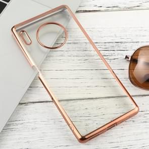 For Huawei Mate 30 Pro Transparent TPU Anti-Drop And Waterproof Mobile Phone Protective Case(Rose Gold)