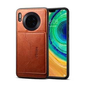 For Huawei Mate 30 Dibase Crazy Horse Texture Protective Case, with Holder & Card Slots(Brown)