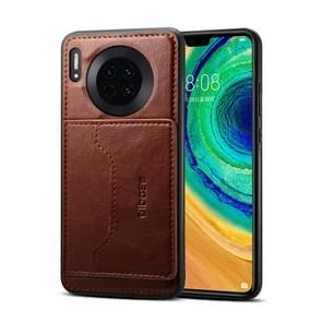 For Huawei Mate 30 Dibase Crazy Horse Texture Protective Case, with Holder & Card Slots(Coffee)
