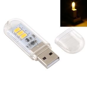 3W 3LEDs 5V 80LM USB LED Book Light Portable Night Light Warm Light
