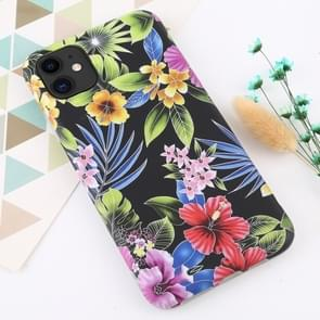 Voor iPhone 11 bloem patroon TPU Protecitve geval (zwarte achtergrond bloem)