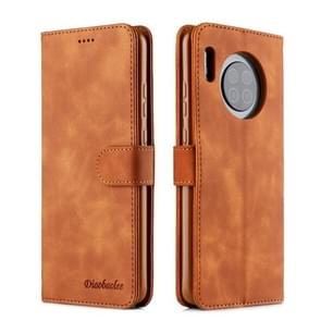 For Huawei Mate 30 Diaobaolee Pure Fresh Texture Horizontal Flip Leather Case, with Holder & Card Slot & Wallet & Photo Frame(Yellow)