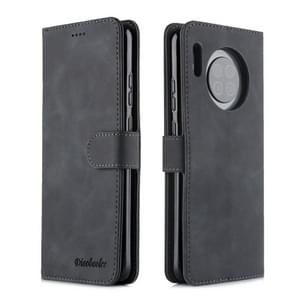 For Huawei Mate 30 Diaobaolee Pure Fresh Texture Horizontal Flip Leather Case, with Holder & Card Slot & Wallet & Photo Frame(Black)