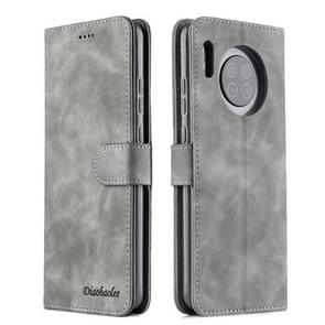 For Huawei Mate 30 Diaobaolee Pure Fresh Texture Horizontal Flip Leather Case, with Holder & Card Slot & Wallet & Photo Frame(Grey)