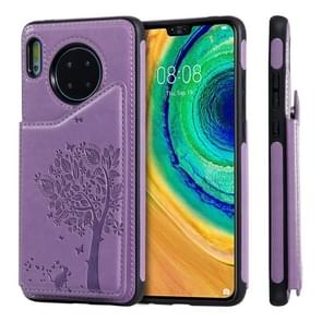 For Huawei Mate 30 Cat Tree Embossing Pattern Shockproof Protective Case with Card Slots & Photo Frame(Purple)