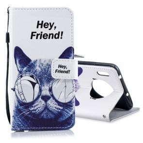 Voor Huawei mate 30 gekleurde tekening patroon horizontale Flip PU lederen draagtas met houder & kaartsleuven & portemonnee & Lanyard (Cool Cat)