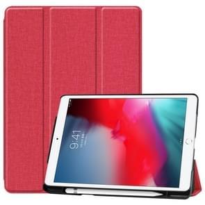 Voor iPad 10 2 (2019)/Air 3/Pro 10 5 denim textuur horizontale Flip lederen draagtas met drie-opvouwbare houder & slaap/Wake-up functie (Rose Red)