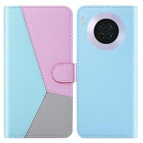 Voor Huawei mate 30 Tricolor stiksels horizontale Flip TPU + PU lederen draagtas met houder & kaartsleuven & portemonnee (blauw)