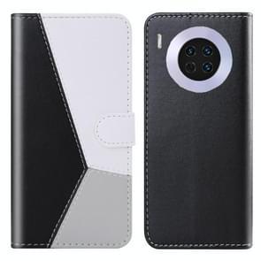 Voor Huawei mate 30 Tricolor stiksels horizontale Flip TPU + PU lederen draagtas met houder & kaartsleuven & portemonnee (zwart)