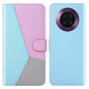 For Huawei Mate 30 Pro Tricolor Stitching Horizontal Flip TPU + PU Leather Case with Holder & Card Slots & Wallet(Blue)
