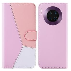 For Huawei Mate 30 Pro Tricolor Stitching Horizontal Flip TPU + PU Leather Case with Holder & Card Slots & Wallet(Pink)