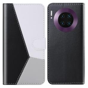 For Huawei Mate 30 Pro Tricolor Stitching Horizontal Flip TPU + PU Leather Case with Holder & Card Slots & Wallet(Black)