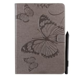 For iPad 10.2 / Pro 10.5 / Air  2019 Pressed Printing Butterfly Pattern Horizontal Flip PU Leather Case with Holder & Card Slots & Wallet & Pen Slot(Grey)