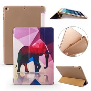 For iPad 10.2 Colored Pattern Horizontal Flip PU Leather Case, with Three-folding Holder & Honeycomb TPU Cover(Elephant)
