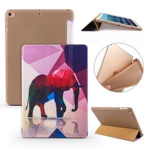 Voor iPad 10 2 gekleurd patroon horizontale Flip PU lederen draagtas  met drie-vouwen houder & honingraat TPU cover (olifant)