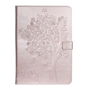For iPad 10.2 / Pro 10.5 / Air 2019 Pressed Printing Cat and Tree Pattern Horizontal Flip Leather Case with Holder & Card Slots & Wallet(Rose Gold)