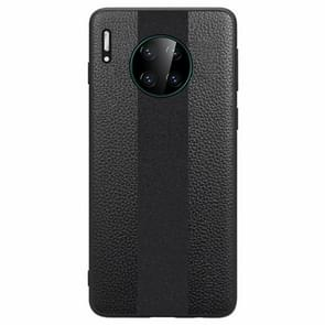 For Huawei Mate 30 SULADA Anti-slip TPU + Handmade Leather Protective Case(Black)