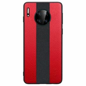 For Huawei Mate 30 SULADA Anti-slip TPU + Handmade Leather Protective Case(Red)