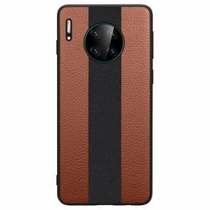 Voor Huawei mate 30 SULADA anti-slip TPU + handgemaakte lederen beschermhoes (bruin)