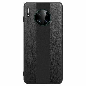 For Huawei Mate 30 Pro SULADA Anti-slip TPU + Handmade Leather Protective Case(Black)