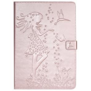 Voor iPad 10,2/Pro 10,5/Air 2019 gedrukt afdrukken vrouw en kat patroon horizontale Flip lederen draagtas met houder & kaartsleuven & portemonnee (Rose goud)
