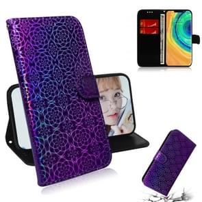 For Huawei Mate 30 Pro / 5G Solid Color Colorful Magnetic Buckle Horizontal Flip PU Leather Case with Holder & Card Slots & Wallet & Lanyard(Purple)