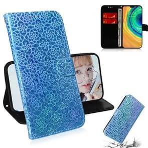Voor Huawei mate 30/5G effen kleur kleurrijke magnetische Buckle horizontale Flip PU lederen draagtas met houder & kaartsleuven & portemonnee & Lanyard (blauw)