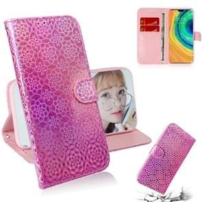 Voor Huawei mate 30/5G effen kleur kleurrijke magnetische Buckle horizontale Flip PU lederen draagtas met houder & kaartsleuven & portemonnee & Lanyard (roze)