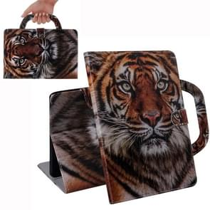 For iPad 10.2 / 10.5 / Air 2019 3D Colored Drawing Horizontal Flip Leather Case with Holder & Card Slot & Wallet & Handle(Siberian Tiger)