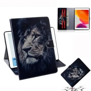 For  iPad 10.2 / 10.5 / Air 2019 3D Colored Drawing Horizontal Flip Leather Case with Holder & Card Slots & Wallet(Lion)