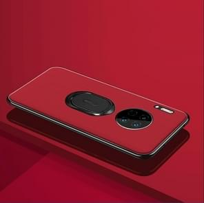 For Huawei Mate 30 Pro LONDOR Series Full Coverage Anti-fall Protective Leather Case with Ring Holder(Red)