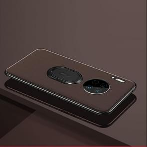 For Huawei Mate 30 Pro LONDOR Series Full Coverage Anti-fall Protective Leather Case with Ring Holder(Brown)