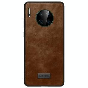 For Huawei Mate 30 SULADA Shockproof TPU + Handmade Leather Protective Case(Brown)