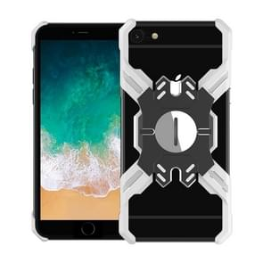 For iPhone 6 Plus / 6 Hero Series Anti-fall Wear-resistant Metal Protective Case with Bracket(Silver Black)