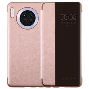 For Huawei Mate 30 Intelligent PU Horizontal Flip Protective Case with Smart View Window & Sleep Wake-up Function(Rose Gold)