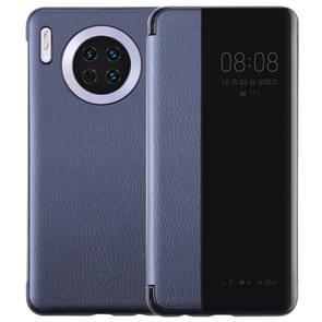 Voor Huawei mate 30 intelligent PU horizontale Flip beschermhoes met Smart View Window & slaap Wake-up functie (donkerblauw)
