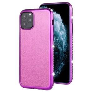 For iPhone 11 Pro Diamond Encrusted Flash Powder TPU Case(Purple)