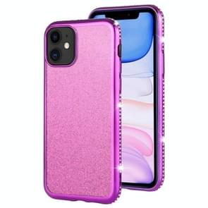 For iPhone 11 Diamond Encrusted Flash Powder TPU Case(Purple)