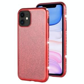 For iPhone 11 Diamond Encrusted Flash Powder TPU Case(Red)