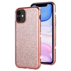 For iPhone 11 Diamond Encrusted Flash Powder TPU Case(Rose Gold)